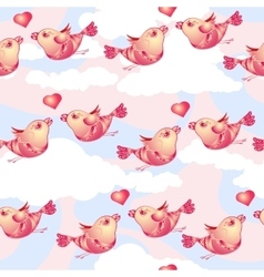 Birds and hearts on cloudy background vector