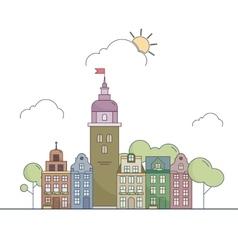 Beautiful outline city landscape Little colorful vector image