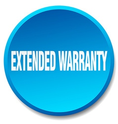 Extended warranty blue round flat isolated push vector
