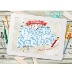Back to school with tablet EPS 10 vector image vector image