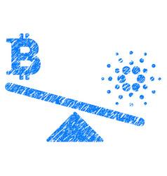 Bitcoin cardano balance swings icon grunge vector