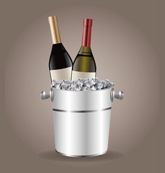 Bottle wine cooler ice drink image vector