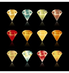 bright star rounded hexagon gem set in vector image