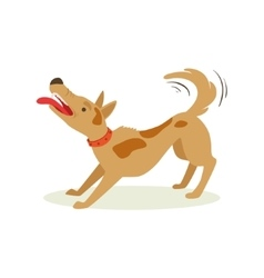 Bristling up angry brown pet dog animal emotion vector