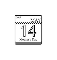 calendar of mothers day 14th may 2017 vector image