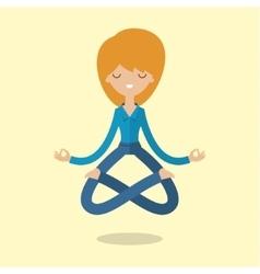 Cartoon business woman is doing yoga vector image