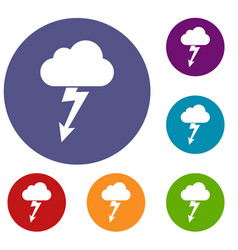 cloud with lightning icons set vector image