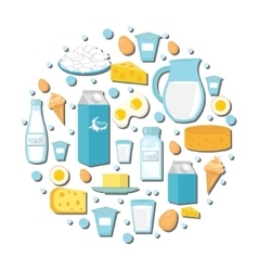 Dairy products icon set in the shape of circle vector image vector image