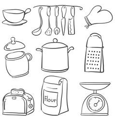 doodle equipment kitchen art vector image vector image