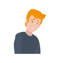 face sad man expression cartoon icon vector image