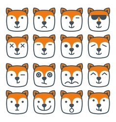 Fox emotional emoji square flat faces icon vector