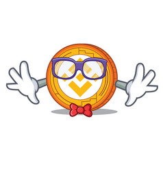 Geek binance coin character catoon vector