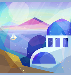 greece landscape in low poly geometric style vector image