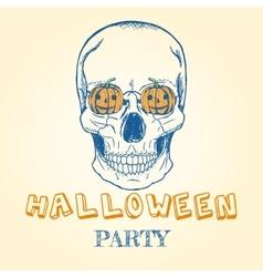 Halloween doodle - skull and pumpkins vector image vector image