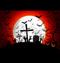 Halloween grave on full moon background vector