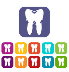 human tooth icons set vector image