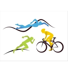 Icons for triathlon and other spot events vector image vector image