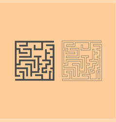 Labyrinth maze conundrum dark grey set icon vector