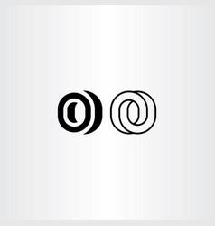 letter o black icon logo elements vector image vector image