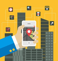 Mobile applications concept flat design h vector