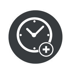 Monochrome round add time icon vector