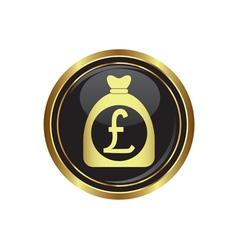 pound in bag icon button gold copy vector image vector image