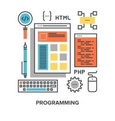 programming flat line concept vector image vector image
