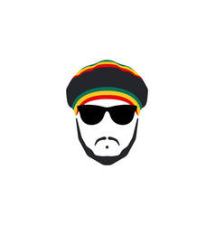 rasta cap with moustache and beard on white backgr vector image