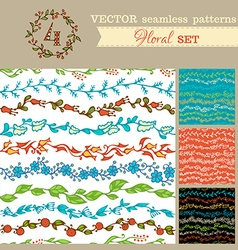 Set of seamless hand-drawn floral patterns vector image