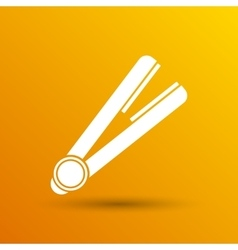 Straightener icon hai outline white curl iron vector