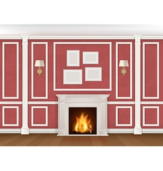 Wall with pilasters fireplace sconces vector