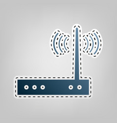 Wifi modem sign blue icon with outline vector