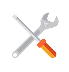 Wrench and screwdriver flat icon isolated on white vector image vector image