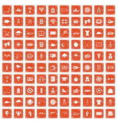 100 tennis icons set grunge orange vector