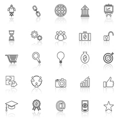 Start up line icons with reflect on white vector