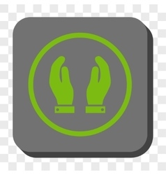 Care hands rounded square button vector