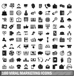 100 viral marketing icons set simple style vector