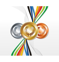 Gold silver bronze medals vector image