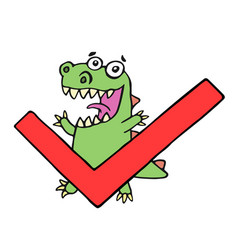 Funny dinosaur and tick vector