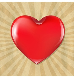 Red heart with cardboard structure with sunburst vector