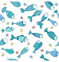 Cute seamless pattern with fishes and starfishes vector