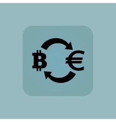 Pale blue euro bitcoin icon vector image