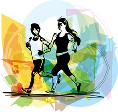 Young fitness couple of man and woman jogging in vector