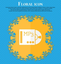 Mp3 player icon sign floral flat design on a blue vector