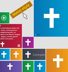 Religious cross christian icon sign buttons modern vector