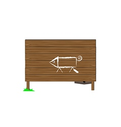 Wooden boards and a pig vector