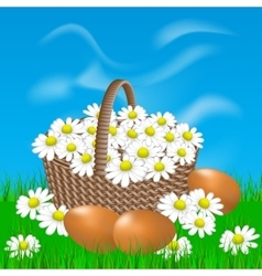 Basket with daisies and eggs on the grass vector