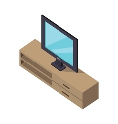 Tv and cabinet under it isometric design vector