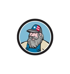 Hillbilly Man Beard Circle Cartoon vector image