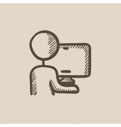 Man working at his computer sketch icon vector